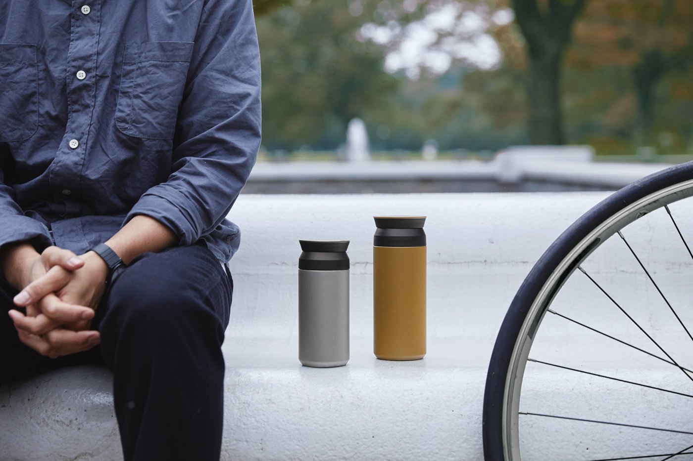 TRAVEL tumbler 350ml and 500ml in gray and coyote