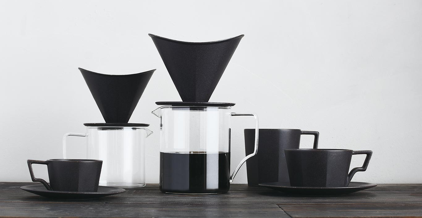 OCT brewer, coffee server, mug and saucer in black