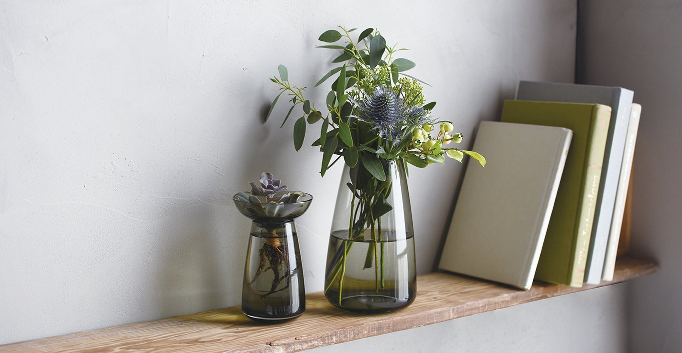 Small and large AQUA CULTURE vase in gray with assortment of plants on a bookshelf