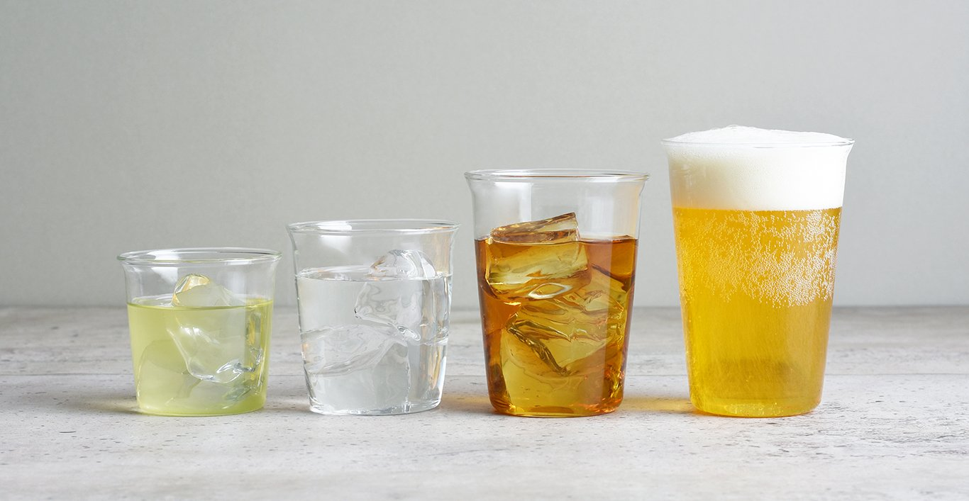CAST collection of green tea, water, ice tea, and beer cups