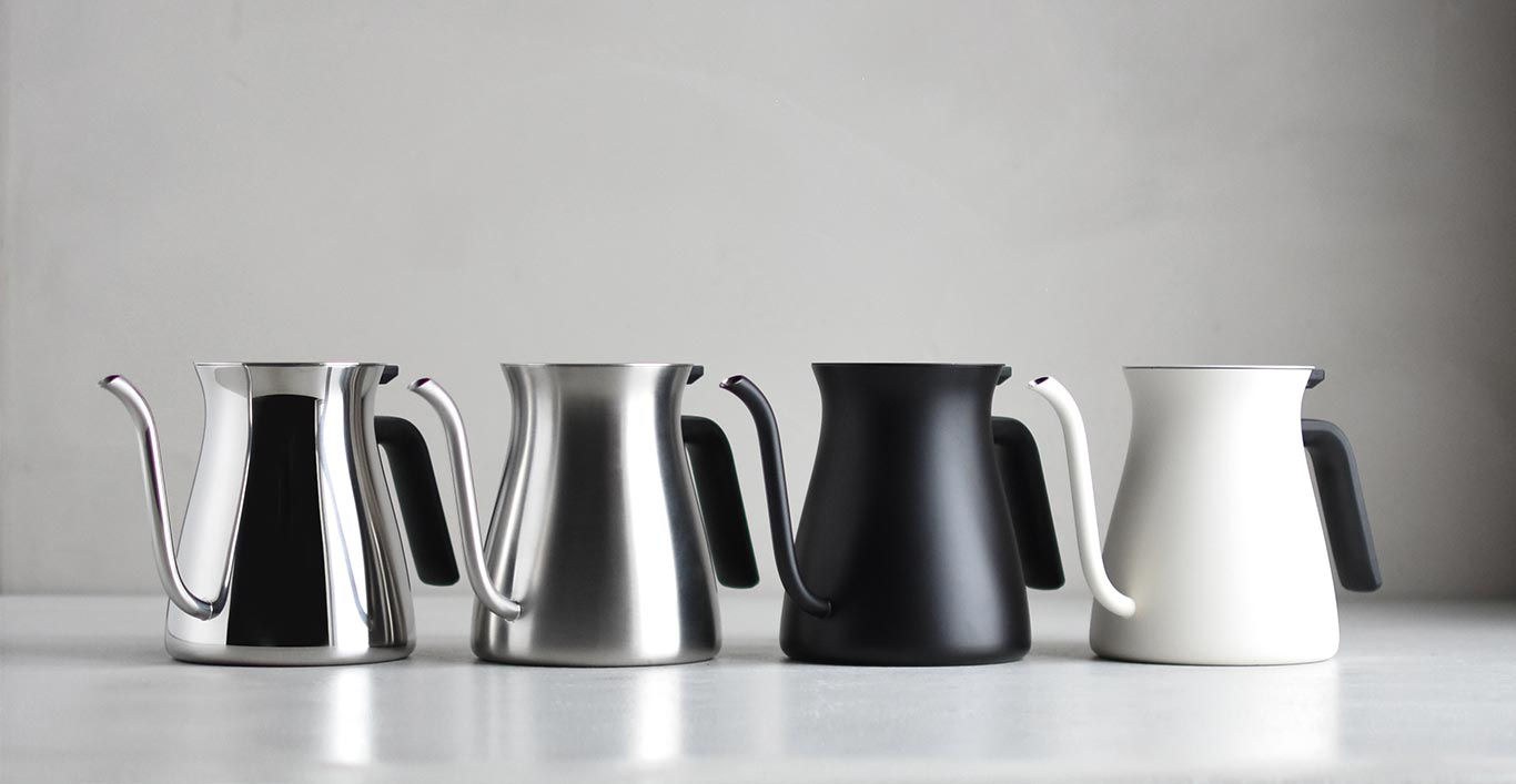POUR OVER KETTLE collection in mirror, matte, black, and white