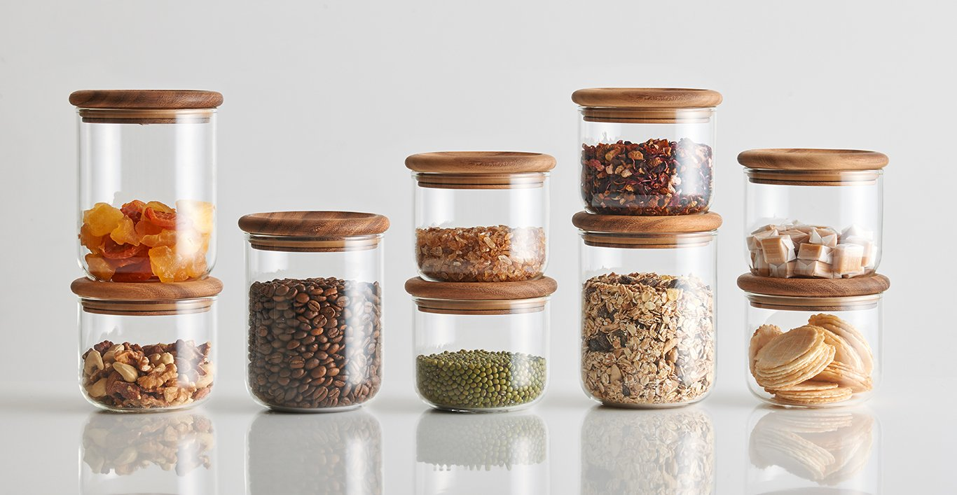 BAUM collection with various pantry items in them