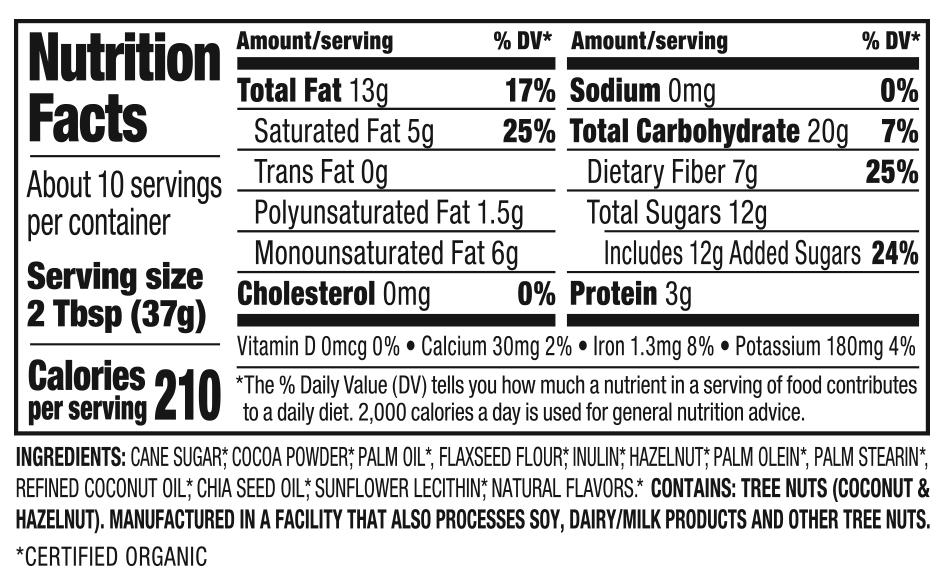 Organic Hazelnut Spread Nutrition Facts