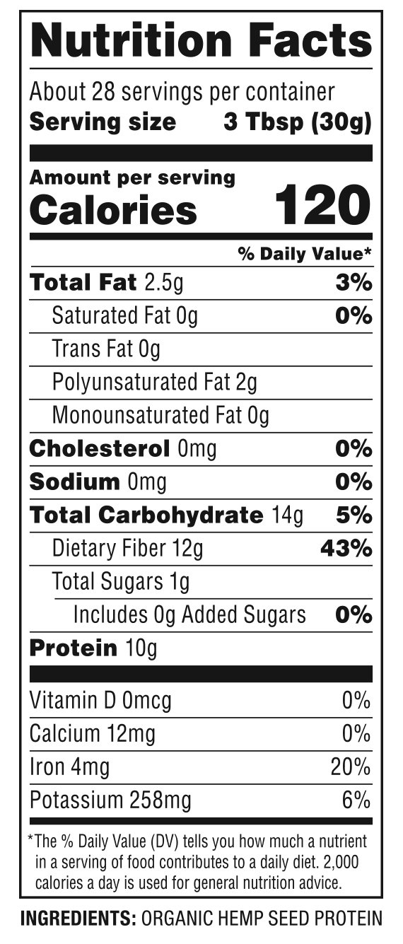 Organic Hemp Seed Protein Nutrition Facts