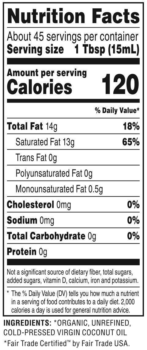 Organic Virgin Coconut Oil Nutrition Facts