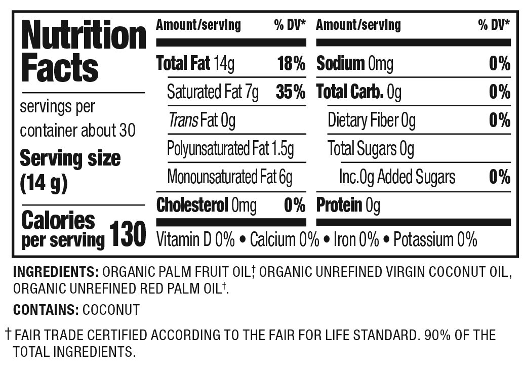 Organic Shortening Nutrition Facts