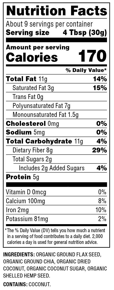 Organic Superseed Blend Nutrition Facts
