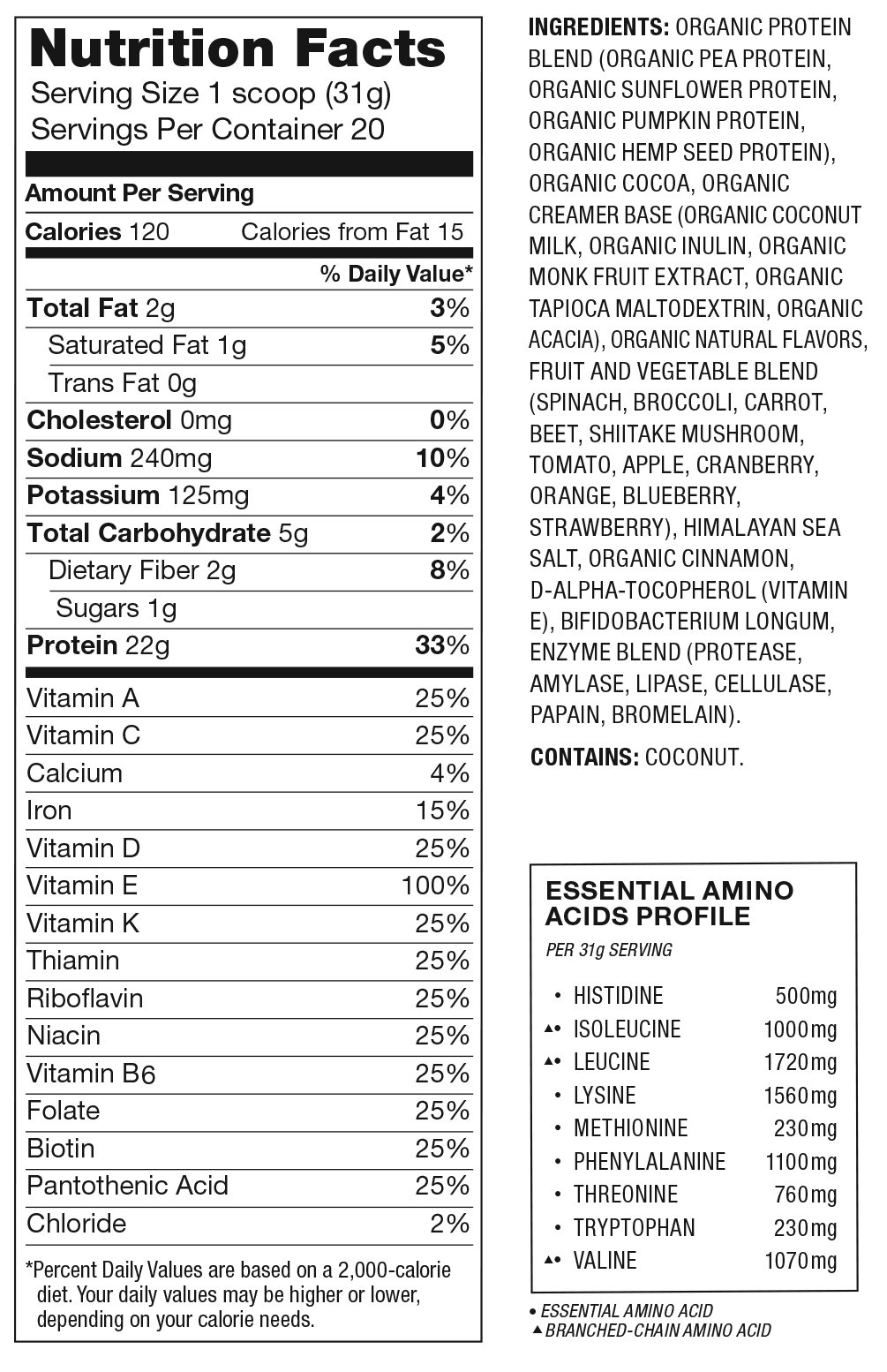 Organic Plant Protein Superfood Smoothie Nutrition Facts