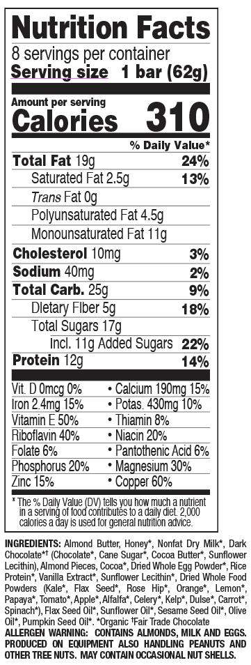 Dark Chocolate Almond nutritional information