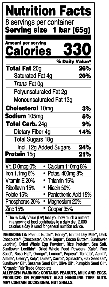 Dark Chocolate Chip Peanut Butter nutritional information