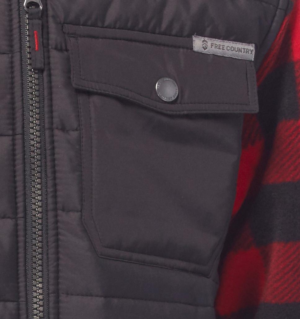 Boys' Pioneer Plaid Hybrid Fleece Jacket