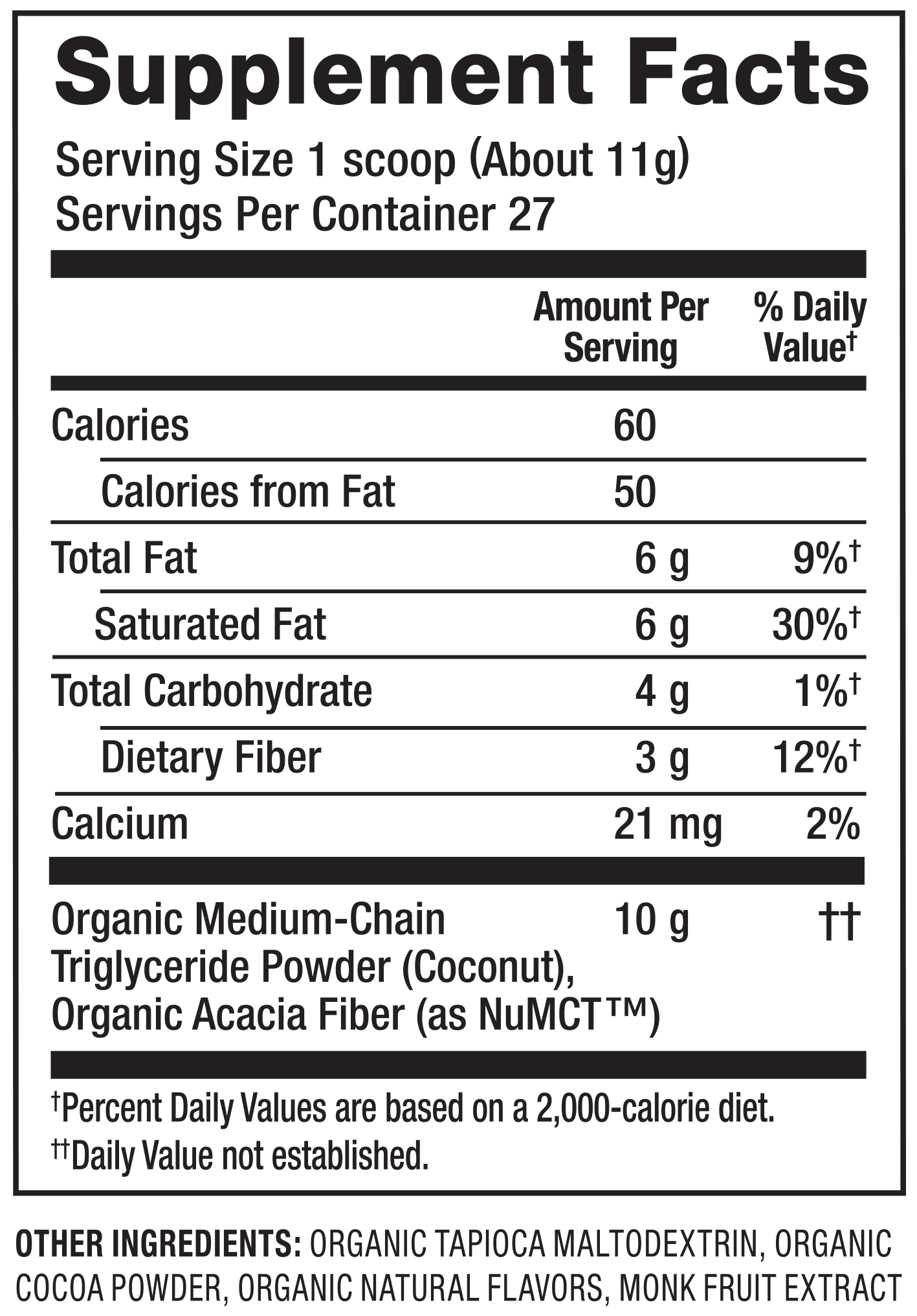 Organic MCT Powder Nutrition Facts