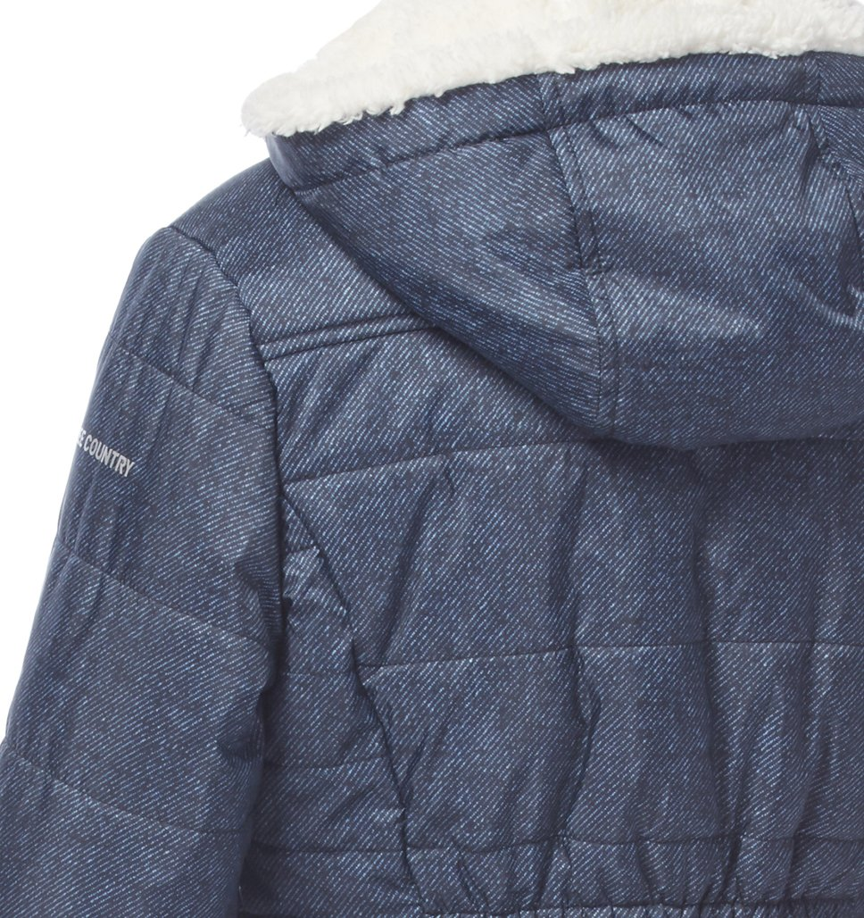 Free Country Little Girls' Boundless Puffer Shirt Jacket - Denim