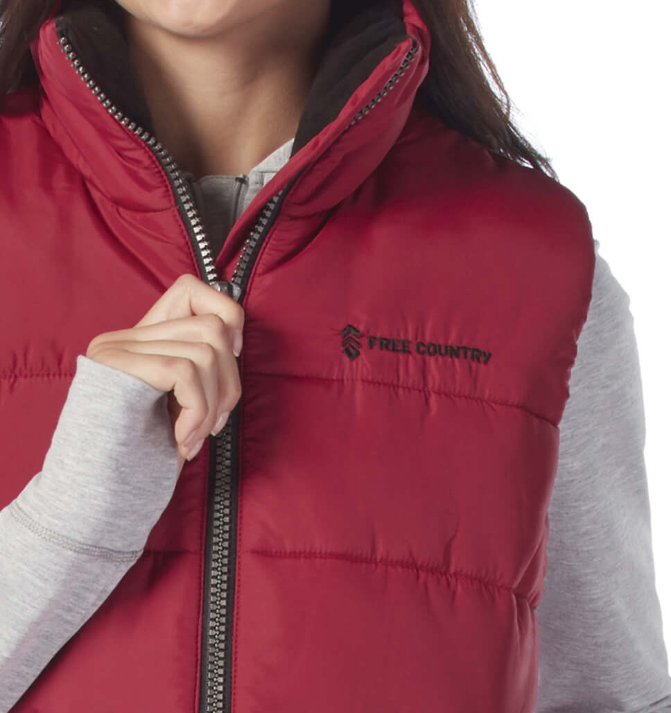 Free Country Women's Linden Cloud Lite Quilted Vest - Garnet - S