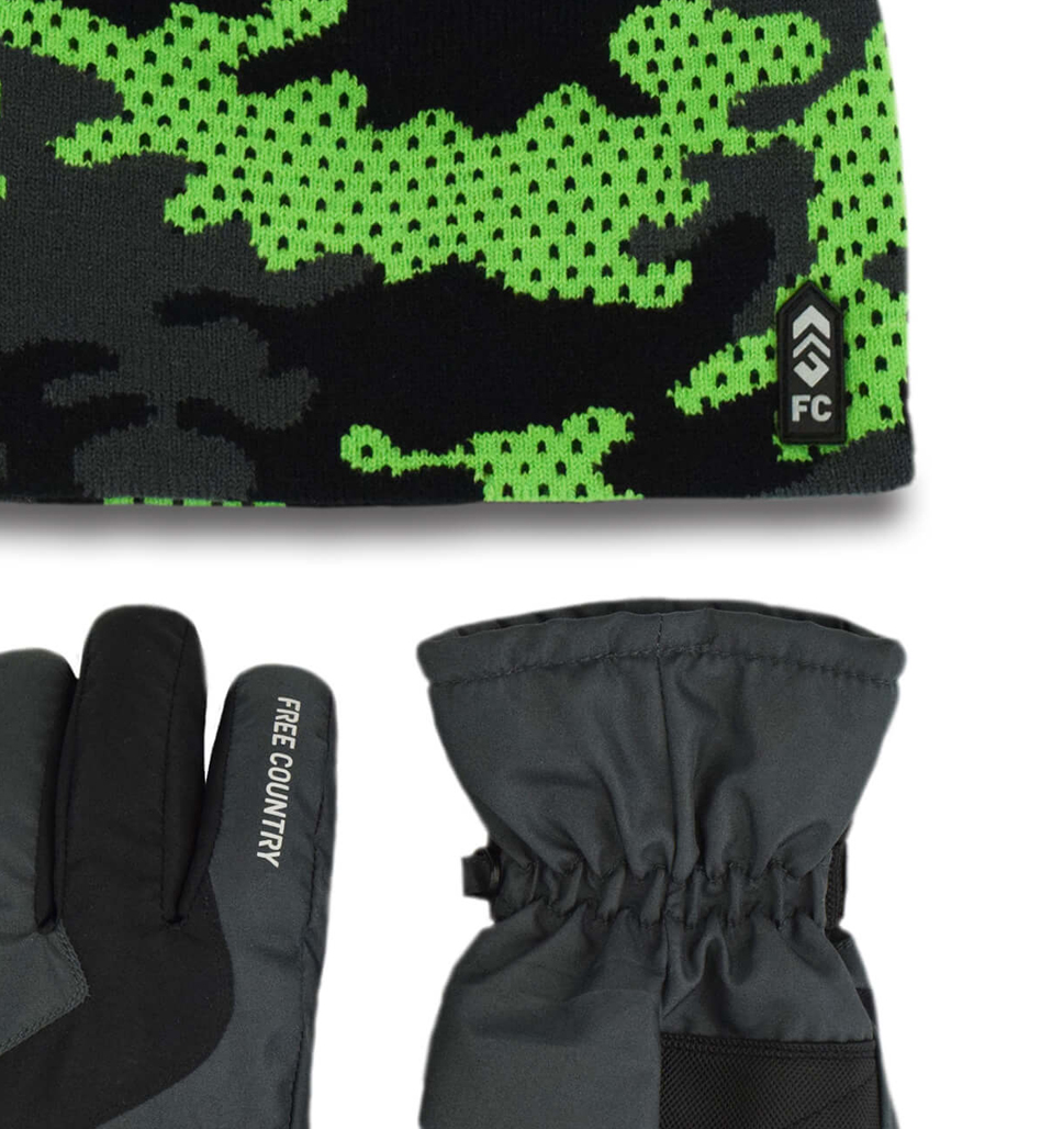 Free Country Boys' Camo Knit Hat and Ski Glove Set - Green Gecko