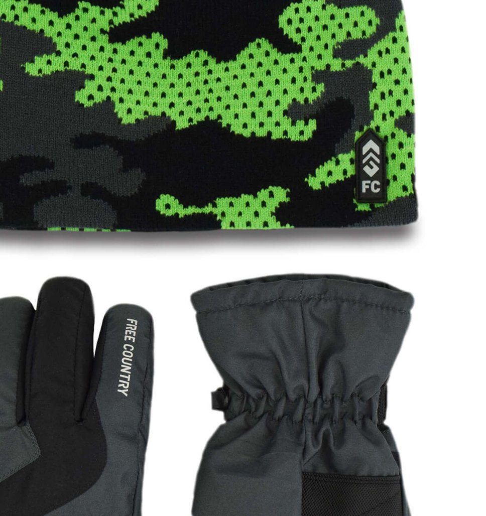 Free Country Boys' Camo Knit Hat and Ski Glove Set - Green Gecko - 4-7