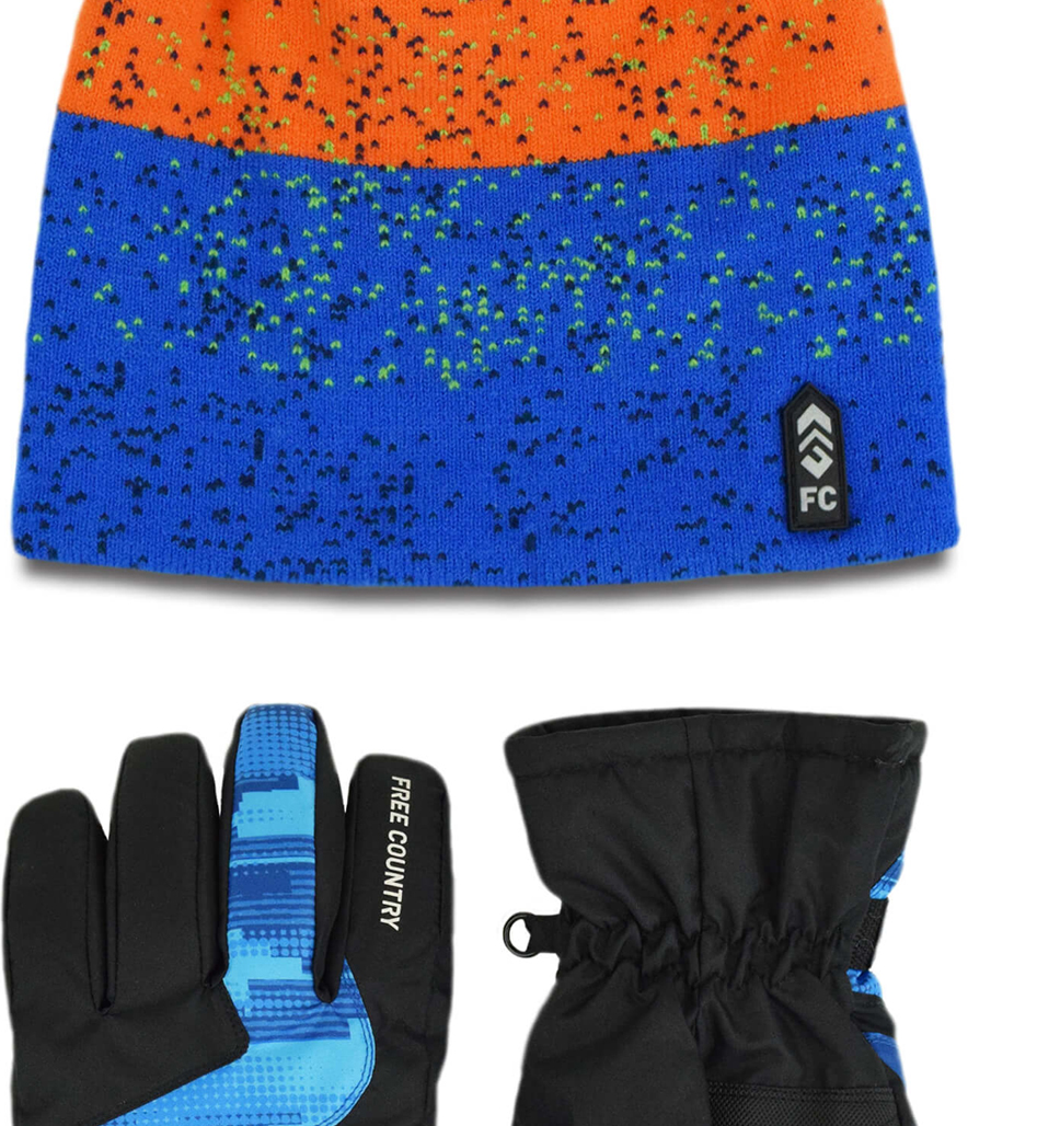 Boys' Jacquard Knit Hat and Ski Glove Set